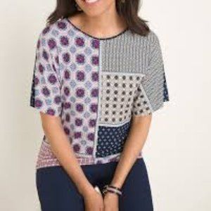 Chicos Short Sleeve Blue Multi Patchwork Tee
